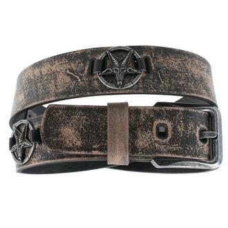 Pas Bafomet - rjava, Leather & Steel Fashion