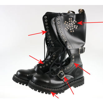 usnje čevlji moški - 20 dírkové Rivets Black - STEEL, STEEL