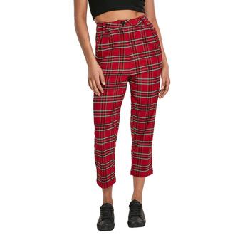 Ženske hlače URBAN CLASSICS - High Waist Checker Cropped - rdeča / blk, URBAN CLASSICS