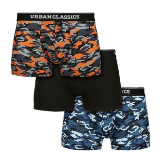 Moške boksarice URBAN CLASSICS - 3-Pack - modra camo / oranžna, URBAN CLASSICS