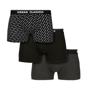 Moške boksarice URBAN CLASSICS - 3-Pack - branding AOP / črna, URBAN CLASSICS