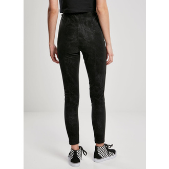 Ženske hlače URBAN CLASSICS - Washed Faux Leather Pants - črna, URBAN CLASSICS