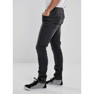 Moške hlače URBAN CLASSICS - Slim Fit Zip Jeans - prava črna sprana, URBAN CLASSICS