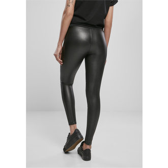 Ženske hlače (pajkice) URBAN CLASSICS - Tech Mesh Faux Leather Leggings - črna, URBAN CLASSICS