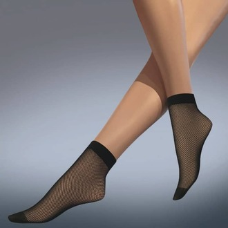 nogavice (nogavice) LEGWEAR - fishnet ankle highs - črna, LEGWEAR