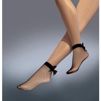 Prozorne nogavice LEGWEAR - Fishnet bow ankle highs - Črna, LEGWEAR