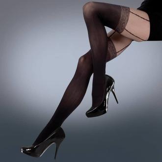 nogavice LEGWEAR - mock lace suspender - črna, LEGWEAR