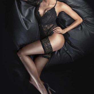Samostoječe nogavice LEGWEAR - Ultra gloss lace top hold ups - Svetlo črna, LEGWEAR