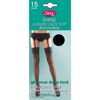 Nogavice LEGWEAR - shine lace top - črna, LEGWEAR